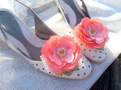 Peach Shoe Clips Peach coral flowers Silk Flower Wedding