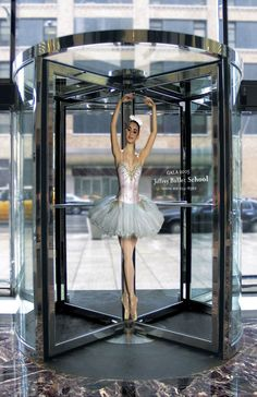 Ballet school guerrilla marketing ad with revolving doors