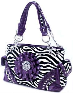 Zebra w/Purple Flower Purse