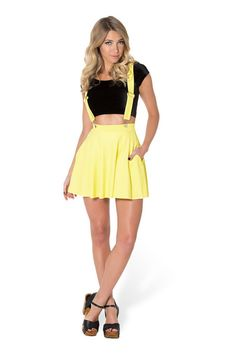 Matte Yellow Pinafore Pocket Skater Skirt by Black Milk Clothing $75AUD ($70USD)