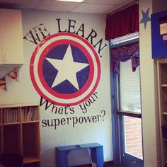 Captain America themed classroom, Captain America shield, classroom decorations, superhero - Visit to grab an amazing super hero shirt now on sale! 2nd Grade Classroom, Classroom Displays, School Classroom, Classroom Themes, Classroom Organization, Superhero Classroom Decorations, Superhero Bulletin Boards, Superhero School Theme, School Themes