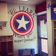 Captain America themed classroom, Captain America shield, classroom decorations, superhero
