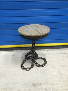 VINTAGE INDUSTRIAL CHAIN LINK COFFEE / LAMP / SIDE TABLE, UNUSUAL | eBay