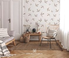 pattern with swallows, vintage wallpaper, self-adhesive, removable wall mural, birds print Kids Wallpaper, Vinyl Wallpaper, Self Adhesive Wallpaper, Nursery Wall Murals, Bedroom Wall, Bedroom Decor, Wall Art, Removable Wall Murals, Beige Background