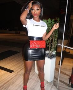 Carlibell Faux Leather Skirt - Black - Baby girl quote white tshirt faux leather mini skirt casual street style fashion outfit Source by Beccachronicles - Dope Outfits, Skirt Outfits, Trendy Outfits, Fashion Outfits, Womens Fashion, Ootd Fashion, Style Fashion, Beach Outfits, Fashion Design