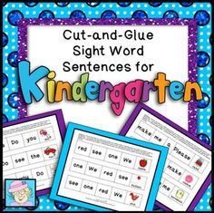 These kindergarten cut-and-glue sentences help your kindergarten students practice sight words. They also give kindergarten students the opportunity to improve cutting and gluing skills. This set of kindergarten sight word sentences consists of 20 pages of 3 sentences each, for a total of 60 sentences.