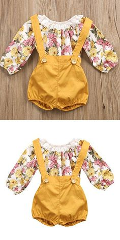 Baby Girls Long Sleeve Princess Floral Romper+ Suspenders Short Pants Overall Jumpsuit Outfit (12-24 Months, Yellow)