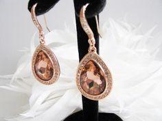 Rose Gold Crystals Rhinestones Bridal Wedding Jewelry Earrings Crystal Bridal Statement Necklace, Gold Crystal Wedding Earrings by weddingswithflair on Etsy