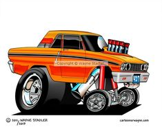 1964 Orange Ford Fairlane Gasser by Wayne Stadler | ArtWanted.mobi