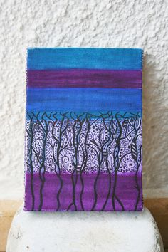 Blue Painting Purple Home Decor  Purple Art Decal by mehru on Etsy, $30.00