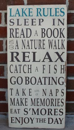 Lake Rules Vintage Style Typography Word Art Sign @ etsy