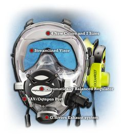 """The Neptune Space G.divers mask is available in 2 sizes and 4 color options and includes an integrated balanced 2nd stage regulator with a 3/8"""" threaded 31.5"""" (80cm) low pressure hose. The patented bellows style face skirt, molded from premium grade silicone rubber, uses a spring profile and large sealing double the size and spacing (30-45mm), to achieve a very comfortable fit and ample support. This spring effect is a combination of the double S section and the inner support ribs which…"""