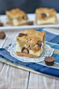 Love cheesecake and peanut butter? Then these Peanut Butter Cheesecake Bars are for you! Click to get the recipe.