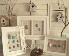 Craftberry Bush: Spring Mantel tutorial on how to create framed egg shadow boxes