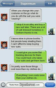 Batman and Superman texts