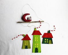 Set green three houses, Felt decoration, Home Decor, Wall hanging decor, Ornament housewarming gift. $29.00, via Etsy.