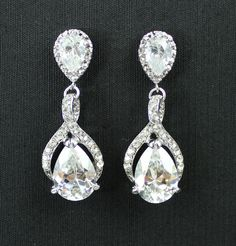 Bridal Crystal  Earrings BRIDE Wedding Jewelry by JamJewels1, $48.00