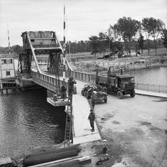 Pegasus Bridge, 9 June 1944; Horsa gliders can be seen where they landed.