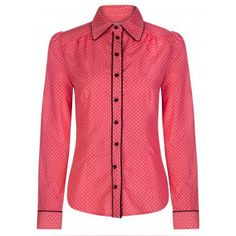 Yasmin Coral Squares Retro Top | Vintage Inspired Fashion - Lindy Bop