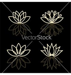 Floral icons and logo design templates vector lotus by PGMart on VectorStock®