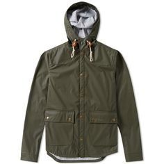 Barbour Hooded Reeling Jacket (300 CAD) ❤ liked on Polyvore featuring men's fashion, men's clothing, men's outerwear, men's jackets, mens lightweight jacket, mens light weight jackets, mens hooded jacket, mens parka jacket and barbour mens jackets