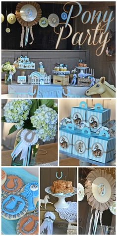 Burlap, ponies and polka dot decor all make appearances at this cute pony girl birthday party!  See more party ideas at CatchMyParty.com!