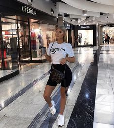 Shopping morning 🛍 wearing my trainers from Ego Official for - Outfits - Biker Shorts Chill Outfits, Mode Outfits, Short Outfits, Trendy Outfits, Summer Outfits, Fashion Outfits, Fashionable Outfits, Fashion Killa, Look Fashion
