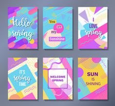 Hello spring posters set in trendy memphis style with geometric patterns and shapes. Vector illustration with lettering and colorful background Abstract Shapes, Abstract Pattern, Geometric Patterns, Memphis Pattern, Valentine's Day Greeting Cards, Logo Design, Graphic Design, Hello Spring, Social Media Design