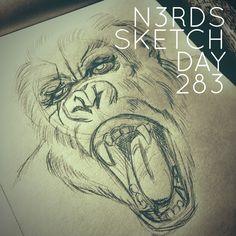 """Angry Gorilla"" #gorilla #angrygorilla #sketchaday #artlove #penandink #nerds #sketchbook #sketch_daily #artnerd #acompanyofn3rds #dopeart #imayneednewglasses  #art_boost #n3rds #blerds #geeks #illustration #camu #moleskine #arts_help #artists_community  #Iamanartist"