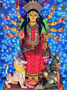 Maa Chandi is the total energy of the universe. Indian Gods, Indian Art, Durga Maa Paintings, Maa Durga Image, Durga Ji, Kali Hindu, Durga Images, Mata Rani, Buddha Meditation