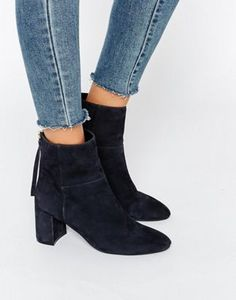 88e560ad1c6 Faith Bae Suede Block Heeled Ankle Boots at asos.com