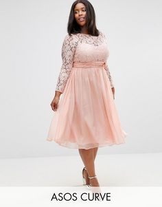 ASOS Curve ASOS CURVE WEDDING Midi Dress With Lace And Bow Detail  Plus-size dress by ASOS CURVE, Sheer lace top, Fixed cami lining, Boat neckline, Sweetheart cut to bust, Tied empire line, Chiffon overlay to skirt, Zip back, Hook and eye closure, Regular fit  affiliate link