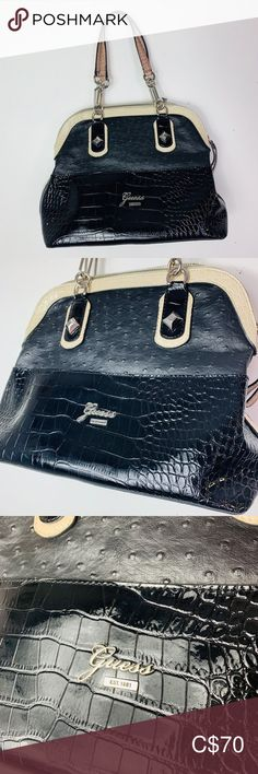 """✨Guess Purse✨ Excellent condition, no stain rips or tears.  Beautiful satin interior and shiny harder exterior.  Measurements ✂️  Length: 14"""" Height: 10"""" Height with handles: 17"""" Width. 6""""  Feel free to ask any questions and if you bundle you'll save ✅ Guess Bags Shoulder Bags Guess Purses, Guess Bags, Plus Fashion, Fashion Tips, Fashion Trends, Shoulder Bags, Boss, Satin, Exterior"""