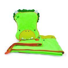 Trunki Snoozihedz Dino Dudley -   De Trunki Snooziheds zijn een must have wanneer u op reis gaat met kleine kinderen. De Snooziheds is een fleece dekentje samen met een opblaasbaar kussen. Zo kan uw kapoen op elk gegeven moment probleemloos slapen.Deze Snooziheds kunt bijboorbeeld in de vorm van een dino, maar het is te verkrijgen in verschillende vormen.