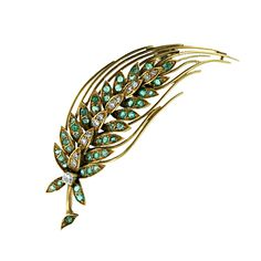 French Emerald and Diamond Feather Pin