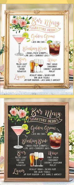 Wedding Bar Menu Digital Printable Botanical Wedding Bar Menu Sign #reception #reception #cocktails #affil #weddingideas