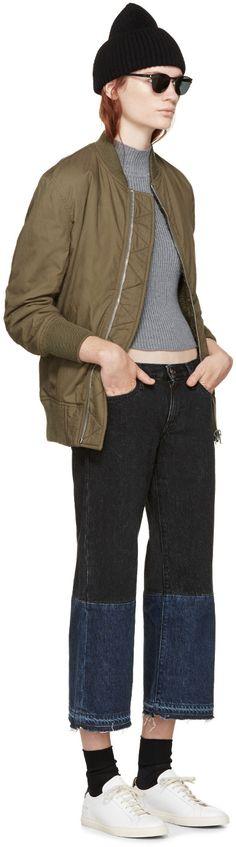 NLST Olive Shearling Reversible Bomber Jacket