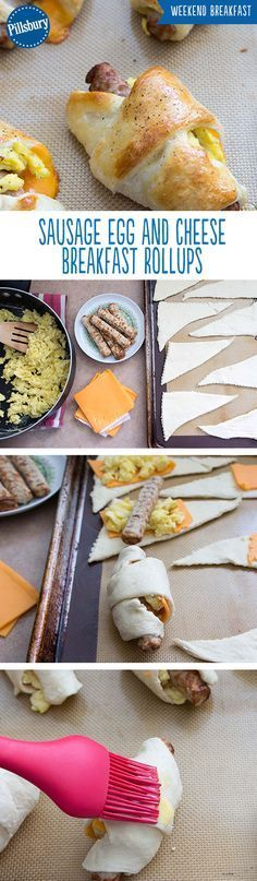 All of your breakfast favorites rolled up into one! Turkey Sausage, egg and cheese wrapped up in a crescent will have everyone wanting more. Perfect for weekend breakfast and brunch and for surprising your family on those cold winter mornings! Breakfast And Brunch, Breakfast Dishes, Breakfast Casserole, Breakfast Recipes, Breakfast Ideas, Fodmap Breakfast, Breakfast Fruit, Camping Breakfast, Breakfast Sandwiches