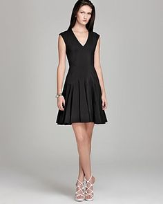 Rebecca Taylor V Neck Dress - Godet | Bloomingdales