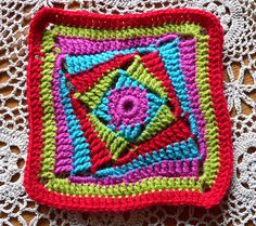 """I believe she titled this """"on the huh"""" crochet square: see lindevrouwsweb.  SEE tiggerbee.blogspot.com for free pattern. Also on Ravelry under """"on the hun crochet square."""""""