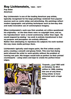 Roy Lichtenstein: Artist Fact Sheet Part Blue Sparrows Art Club
