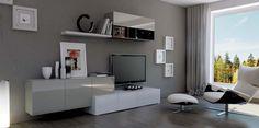 Composición modular 260 cm. en estilo moderno acabada en laca blanco y gris antracita brillo.