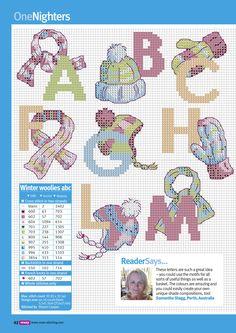 snuggle up abc by maria diaz Xmas Cross Stitch, Cross Stitch Letters, Cross Stitch Art, Cross Stitch Designs, Stitch Patterns, Diy Embroidery, Cross Stitch Embroidery, Plastic Canvas Crafts, Stitch 2