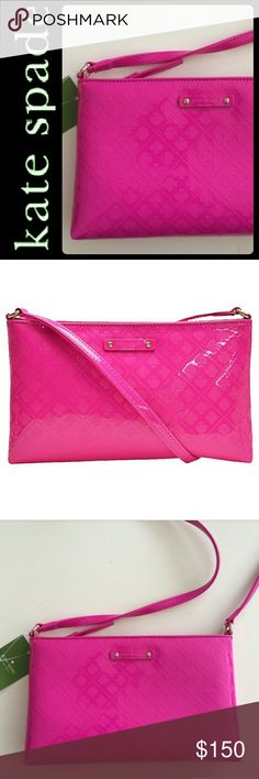 Kate Spade NY Crossbody Bag NEW! Kate Spade NY Signature Purse in Stunning Hot Pink Shade! Gorgeous Style with Just Perfect Size for Your Everyday Essential! For the Lady on the Go!   Top Zipper Closure Opens to Fully Lined Interior with Slip Pockets! Signature Kate Spade Satin Feel Interior Lining! Silver Tone Hardware and Comes with Original Care Card, Perfect for Gifting it a Treat to Yourself! Vibrant and Chic! Crossbody Strap Drop About 22 Inches!  NEW kate spade Bags Crossbody Bags