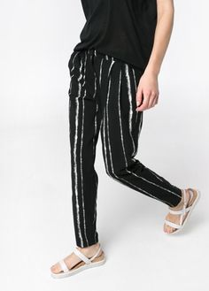 Bicolor baggy trousers with irregular stripes crafted in a crepe fabric. Twin side pockets, pleats, zip and hook fastening. Twin welt pockets and elastic waistband at back. Baggy Trousers, Trousers Women, Pants, Crepe Fabric, Fashion Outlet, Womens Fashion, Shirts, Clothes, Dresses