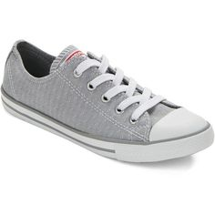 Converse Dainty Ox Lace-Up Low Top Sneakers ($55) ❤ liked on Polyvore featuring shoes, sneakers, converse, sapatos, grey, lace up sneakers, gray shoes, low tops, retro sneakers and converse sneakers