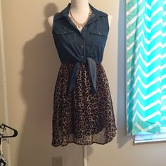 Rue 21 Denim Cheetah Dress Sexy! Small Size Small! Only worn a few times! Very pretty and totally flirty! ⚫️ Rue 21 Dresses Mini