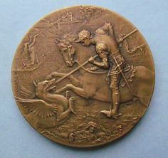 Saint George And The Dragon Antique French Bronze Religious Art Medal