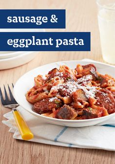 Sausage & Eggplant Pasta – Got a beautiful eggplant that's fresh and ready to go? We highly recommend using it in this awesome chicken Italian sausage pasta recipe!