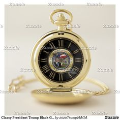 58a7c82ee Classy President Trump Black Gold Roman Numerals Pocket Watch #Trump  #PresidentTrump #Watch #